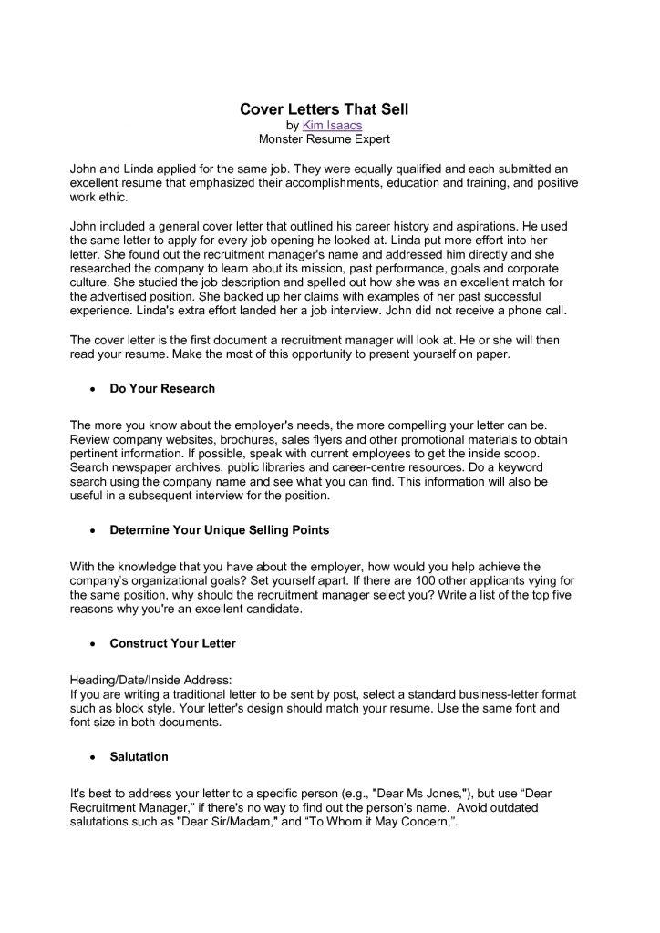 Cover Letter Template Monster   2 Cover Letter Template   Resume