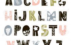 Creative Decorative Alphabet With Floral Elements. Scandinavian..