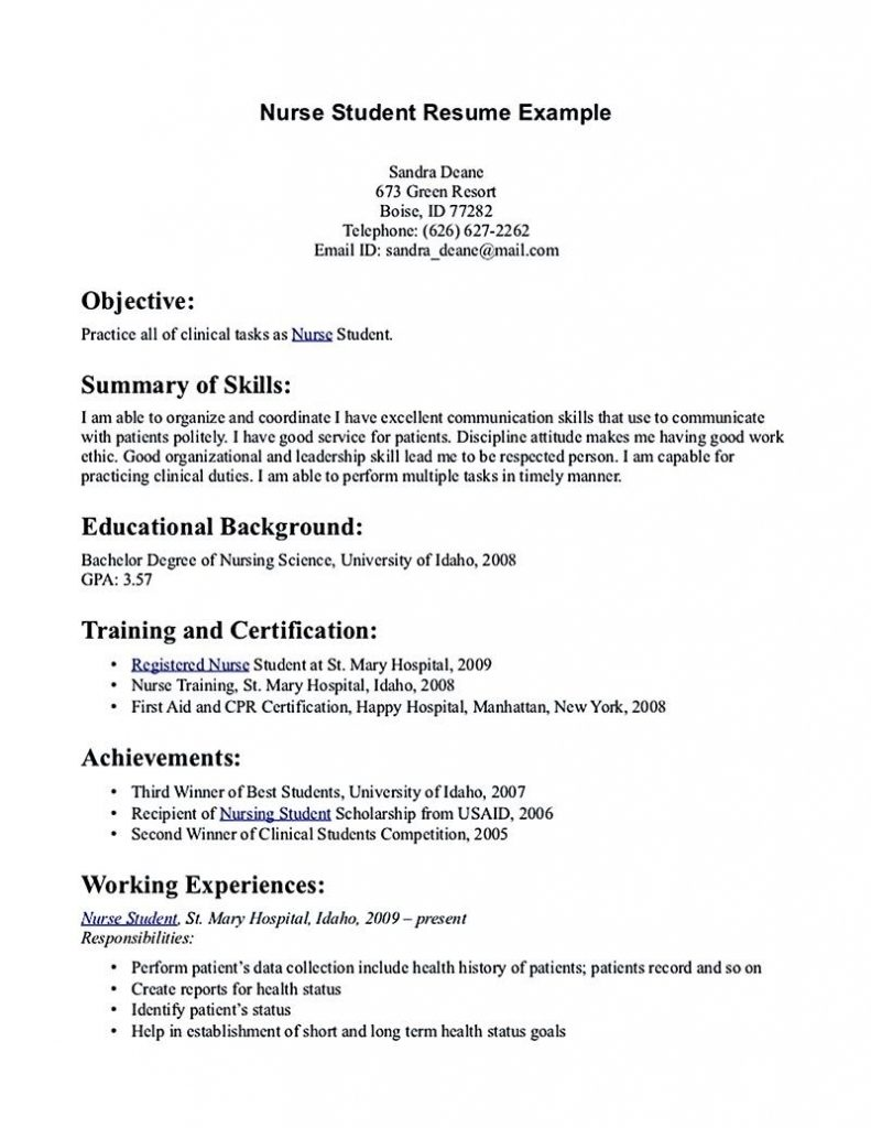 Nursing Student Resume Must Contains Relevant Skills, Experience And