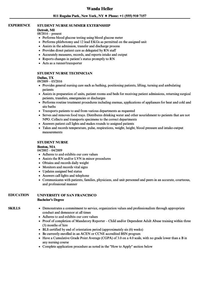 Student Nurse Resume Samples | Velvet Jobs
