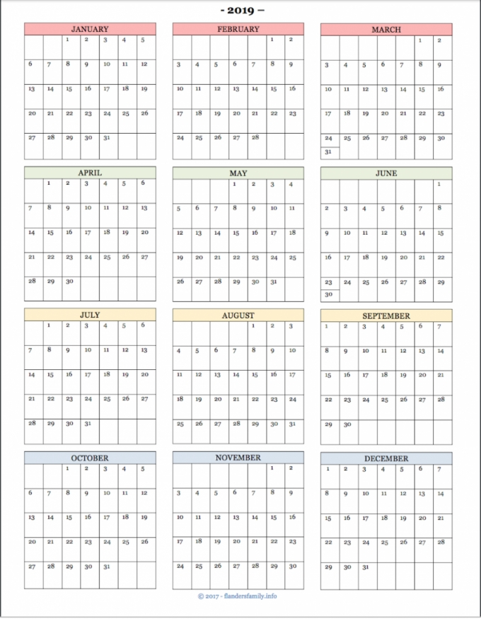 Printable Year At A Glance Calendar