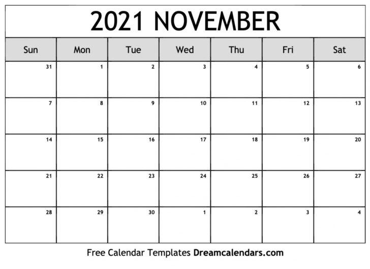 Calendar November 2021 Printable