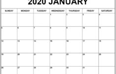 Printable Calendar 2020 Monthly