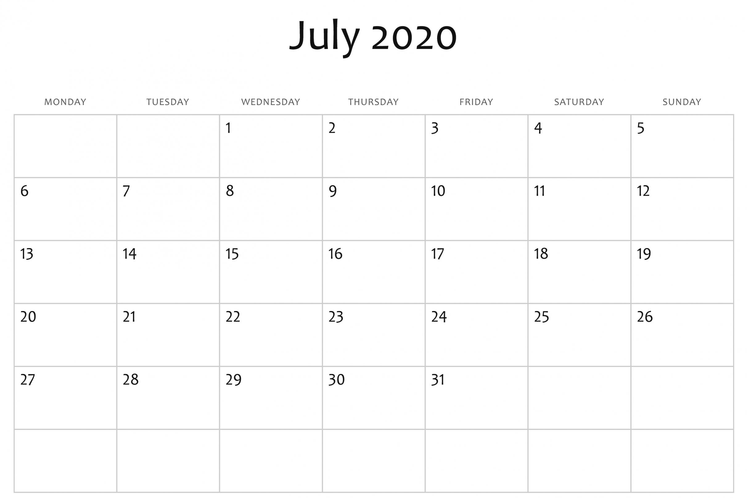 Printable Calendar 2020 Word