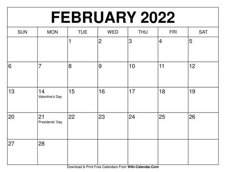 2022 February Calendar Printable