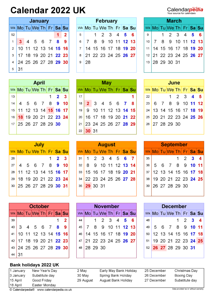 Printable Large Calendar 2022