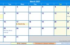 Printable Calendar Uk 2021
