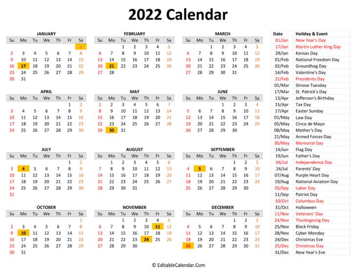 Printable Calendars With Holidays 2022
