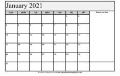 Monthly Printable Calendar 2021