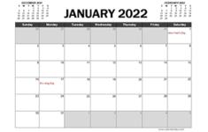 Printable Calendar 2022 Canada