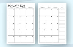 2 Page Monthly Calendar 2021 Printable Free