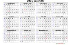 2021 Calendar Year Printable